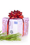 Gift box made of euro Stock Image