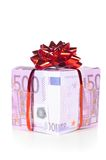 Gift box made of euro Royalty Free Stock Photos