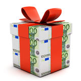 Gift box made of euro banknotes. Isolated on white vector illustration