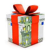 Gift box made of euro banknotes. On white royalty free illustration