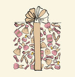 Gift box made from women's accessories royalty free stock photography