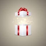 Gift box with a magic effect Royalty Free Stock Photo