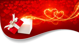 Gift box with magic hearts Stock Photography