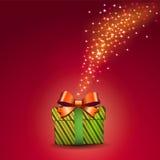 Gift box and magic light fireworks, vector & illustration Stock Image