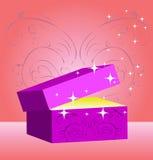 Gift box, magic valentin's day. Open box with star splash, abstract holiday symbol stock illustration