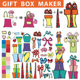 Gift box maker.Flat Doodle set Stock Photos