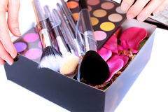 Gift Box with makeup inside Royalty Free Stock Photo