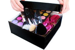 Gift Box with makeup inside Stock Photos