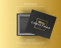 Gift box with merry christmas sign. Top view on present mock up box with beautiful golden background. Vector royalty free illustration