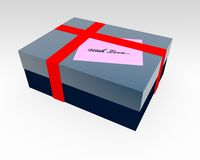 Gift box with message tag Stock Photos