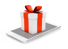 Gift box on mobile phone Stock Photography