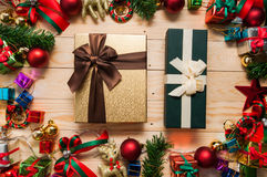 Gift box mock up with Christmas decorations Stock Image