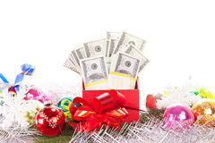 Gift box with money Royalty Free Stock Photo