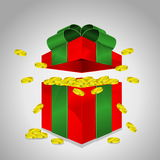 Gift box (money). Red gift box and green ribbon open and gold coin Royalty Free Stock Image
