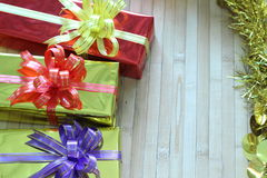 Gift box of multi-colored ribbons arranged beautifully.  Stock Photos