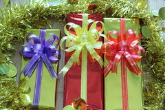 Gift box of multi-colored ribbons arranged beautifully Stock Photography
