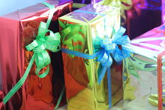Gift box of multi-colored ribbons arranged beautifully.  Royalty Free Stock Images