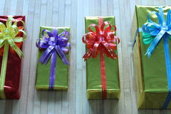 Gift box of multi-colored ribbons arranged beautifully.  Stock Photo