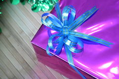 Gift box of multi-colored ribbons arranged beautifully Royalty Free Stock Images
