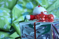 Gift box of multi-colored ribbons arranged beautifully.  Stock Images