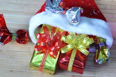 Gift box of multi-colored ribbons arranged beautifully.  Stock Image