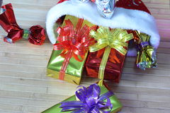 Gift box of multi-colored ribbons arranged beautifully Royalty Free Stock Image