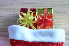 Gift box of multi-colored ribbons arranged beautifully.  Royalty Free Stock Photo