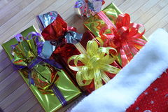 Gift box of multi-colored ribbons arranged beautifully.  Royalty Free Stock Photography