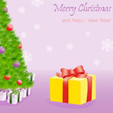 Gift box near Christmas tree Stock Photography