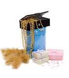 Gift of the box and necklace Royalty Free Stock Images