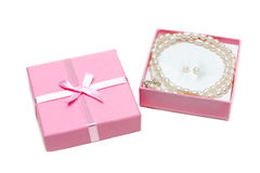 Gift box with necklace from pearl Royalty Free Stock Photography