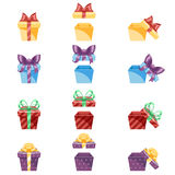 Gift Box New Year Cartoon Flat Design Icon Set Template Vector Illustration Stock Image