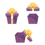 Gift Box New Year Cartoon Flat Design Icon Set  Stock Images