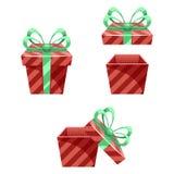 Gift Box New Year Cartoon Flat Design Icon Set  Stock Photo