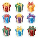 Gift Box New Year Cartoon Flat Design Icon Set Template Vector Illustration Royalty Free Stock Photos