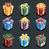 Gift Box New Year Cartoon Flat Design Icon Set Template Vector Illustration. Gift Box New Year and Cartoon Flat Design Icon Set Template Vector Illustration Royalty Free Stock Images