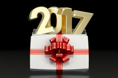 Gift Box with 2017, New Year and Christmas concept. 3D rendering. On black background Stock Photo