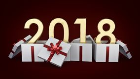 Gift box New Year 2018. Royalty Free Stock Photography