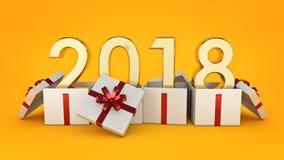 Gift box New Year 2018. Royalty Free Stock Image