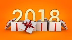 Gift box New Year 2018. Stock Image