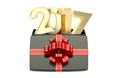 Gift Box with 2017, New Year and Xmas concept. 3D rendering. Gift Box with 2017, New Year and Christmas concept. 3D rendering on white background Royalty Free Illustration