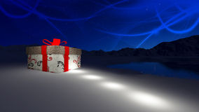 Gift box in North Pole Stock Image