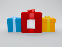 Gift box with note Royalty Free Stock Photo