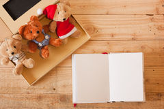 Gift box and note Stock Photos