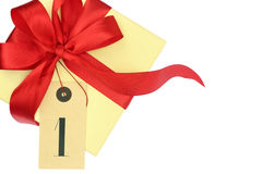 Gift box with number one Royalty Free Stock Photography