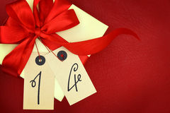 Gift box with number 14 Royalty Free Stock Photos