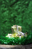Gift box on old wooden with bokeh background Royalty Free Stock Images