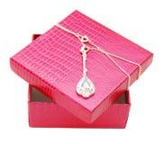 Gift box open with diamond Royalty Free Stock Photo