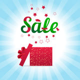 Gift box open and with red bow and ribbon vector illustration. Royalty Free Stock Photo