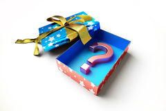 Gift box open revealing as content, a big question Stock Photos